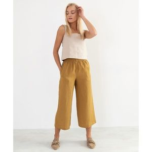 love and confuse Riley Wide Leg Pants Yellow Honey Linen, Size M